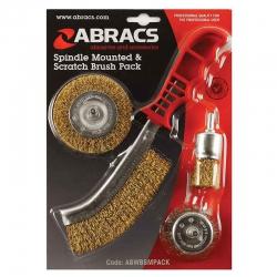 Borstelset Abracs 4-delig - 3 stiftborstels en 1 staalborstel