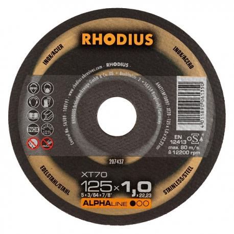 Doorslijpschijf vlak diam. 125mm 1mm dik Rhodius